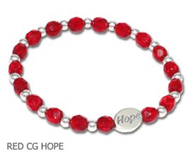 AIDS Awareness bracelet with Red Czech glass and sterling silver Hope bead