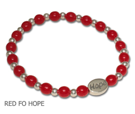 AIDS Awareness bracelet with round opaque red glass beads with sterling silver Hope bead