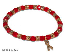 HIV Awareness bracelet with opaque round red beads and antique gold Awareness ribbon