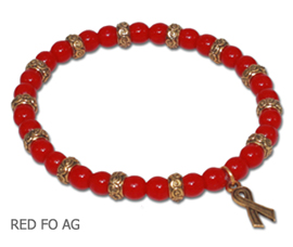 HIV Awareness bracelet with opaque red glass beads with antique gold Awareness ribbon