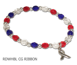 Troop Support Awareness bracelet with sterling silver awareness ribbon