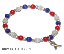 Red, white and blue Cat's Eye awareness bracelet with sterling silver awareness ribbon