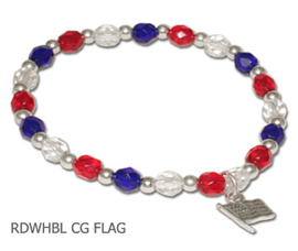 Patriotic Awareness bracelet with sterling silver Flag charm