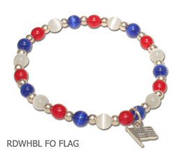 Political fundraiser awareness bracelet with cat's eye beads and sterling silver Flag charm