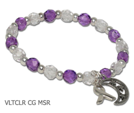 Relay bracelet with violet and clear Czech glass beads, sterling silver awareness ribbon and pewter moon and stars charm
