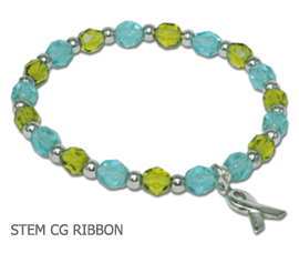 Stem Cell Donation Awareness bracelet with aqua and lime faceted beads and sterling silver awareness ribbon