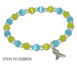Stem Cell Donation Awareness bracelet with aqua and lime cat's eye beads and sterling silver awareness ribbon