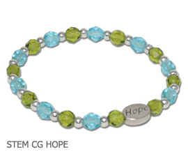 Stem Cell Donation Awareness bracelet with aqua and lime faceted beads and sterling silver Hope bead