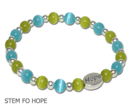 Stem Cell Donation Awareness bracelet with aqua and lime cat's eye beads and sterling silver Hope bead