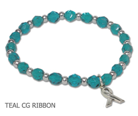Gynecological Cancer Awareness bracelet with faceted teal beads and sterling silver awareness ribbon