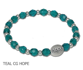 Reproductive Cancer Awareness bracelet with teal Czech glass beads and sterling silver Hope bead