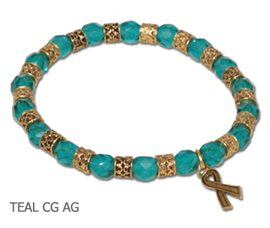 Ovarian Cancer Awareness bracelet with faceted teal beads and antique gold Awareness ribbon