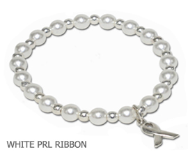 Lung Cancer Awareness bracelet with white glass pearls and sterling silver awareness ribbon