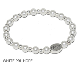 Lung Cancer Awareness bracelet with white glass pearls and sterling silver Hope bead