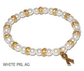 Lung Cancer Awareness bracelet with white glass pearls and antique gold Awareness ribbon