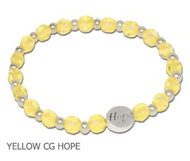 Liver Disease Awareness bracelet with faceted yellow Czech beads and sterling silver Hope bead