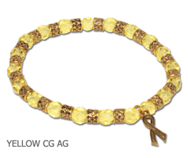 Bladder Cancer Awareness bracelet with faceted yellow beads and antique gold Awareness ribbon