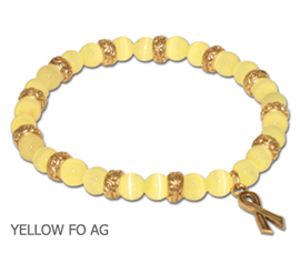 Spina Bifida Awareness bracelet with yellow fiber optic beads and antique gold Awareness ribbon