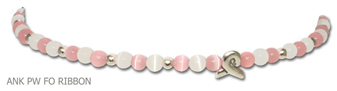Breast Cancer Awareness anklet made with pink and white fiber optic beads with a sterling silver awareness ribbon bead on jeweler's elastic by A Different Twist