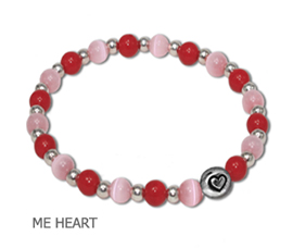 Marriage Equality awareness bracelet by A Different Twist with opaque pink fiber optic beads and red glass beads with lead-free pewter Heart charm and silver plate spacer beads on jeweler's elastic