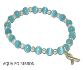 Thyroid Cancer Cat's Eye awareness bracelet with sterling silver awareness ribbon