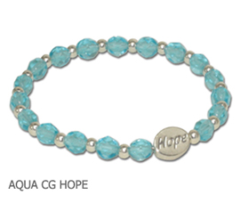 Thyroid Cancer awareness bracelet with aqua Czech glass and sterling silver Hope bead
