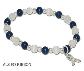 Amyotrophic Lateral Sclerosis Awareness bracelet with faceted navy blue and clear glass beads and sterling silver Hope bead
