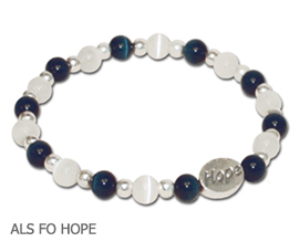 ALS Awareness bracelet with opaque navy blue and white beads and sterling silver Hope bead