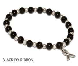 Melanoma awareness bracelet with black cat's eye beads and sterling silver awareness ribbon