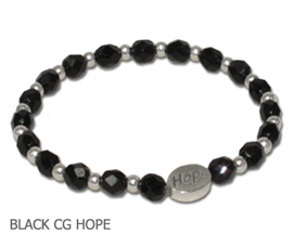 Skin Cancer awareness bracelet with jet-black Czech glass and sterling silver Hope bead