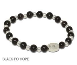 Melanoma awareness bracelet with black fiber optic beads and sterling silver Hope bead