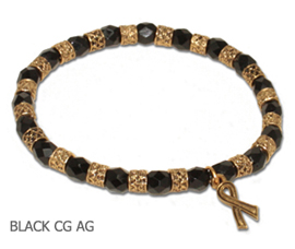 Melanoma awareness bracelet with faceted black Czech glass beads and antique gold awareness ribbon