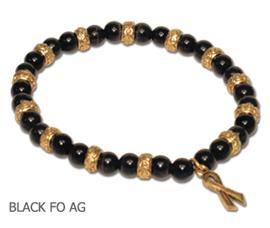 Skin Cancer Awareness bracelets black fiber optic beads and antique gold Awareness ribbon