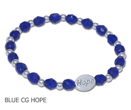 Colon/Rectal Cancer awareness bracelet with blue Czech glas beads sterling silver Hope bead