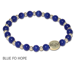 Colon/Rectal Cancer awareness bracelet with blue fiber optic beads and sterling silver Hope bead