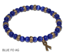 Huntington's Disease Awareness bracelet with blue beads and antique gold Awareness ribbon