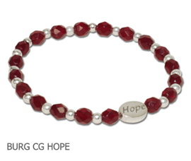 Polio Survivors awareness bracelet with burgundy Czech glass beads and sterling silver Hope bead