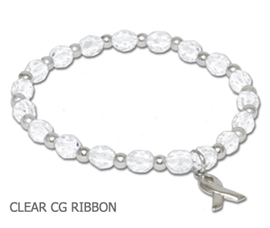 Bone Cancer Awareness bracelet with clear glass beads and sterling silver awareness ribbon