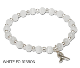 Bone Cancer Awareness bracelet with opaque white fiber optic beads with sterling silver awareness ribbon