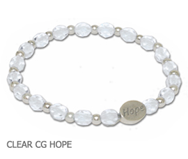 Bone Disease Awareness bracelet faceted clear beads and sterling silver Hope bead