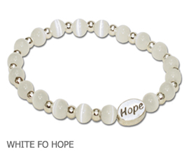 Bone Disease Awareness bracelet with opaque white fiber optic beads with sterling silver Hope bead