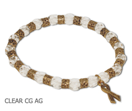 Scoliosis Awareness bracelet with faceted Czech glass beads and antique gold Awareness ribbon