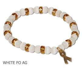 Scoliosis Awareness bracelet with opaque white fiber optic beads with antique gold Awareness ribbon