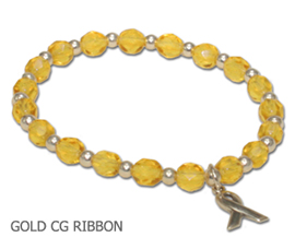 Childhood Cancer awareness bracelet with amber Czech glass beads and sterling silver awareness ribbon