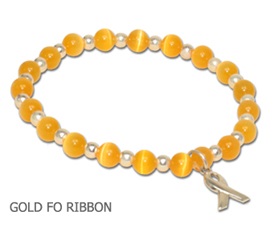 Childhood Cancer awareness bracelet with yellow-gold beads and sterling silver awareness ribbon