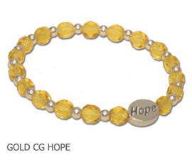Childhood Cancer awareness bracelet with faceted amber glass beads sterling silver Hope bead