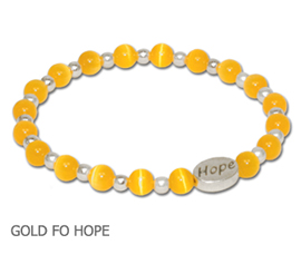 Childhood Cancer awareness bracelet with golden yellow round beads and sterling silver Hope bead