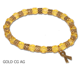 Antique Gold Childhood Cancer Awareness bracelet with faceted gold glass beads and antique gold Awareness ribbon