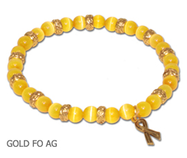Antique Gold Childhood Cancer Awareness bracelets with yellow-gold fiber optic beads and antique gold Awareness ribbon