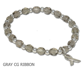 Brain Cancer awareness bracelet with gray Czech glass beads and sterling silver awareness ribbon